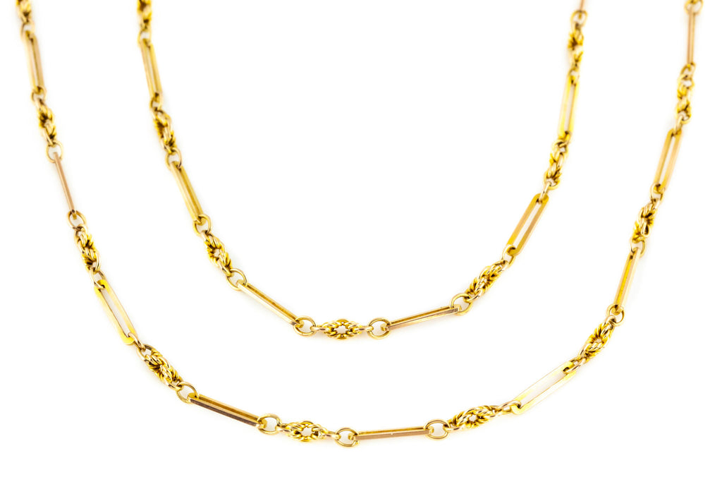 "Rare 60"" 9ct Gold Antique Victorian Long Guard Chain"