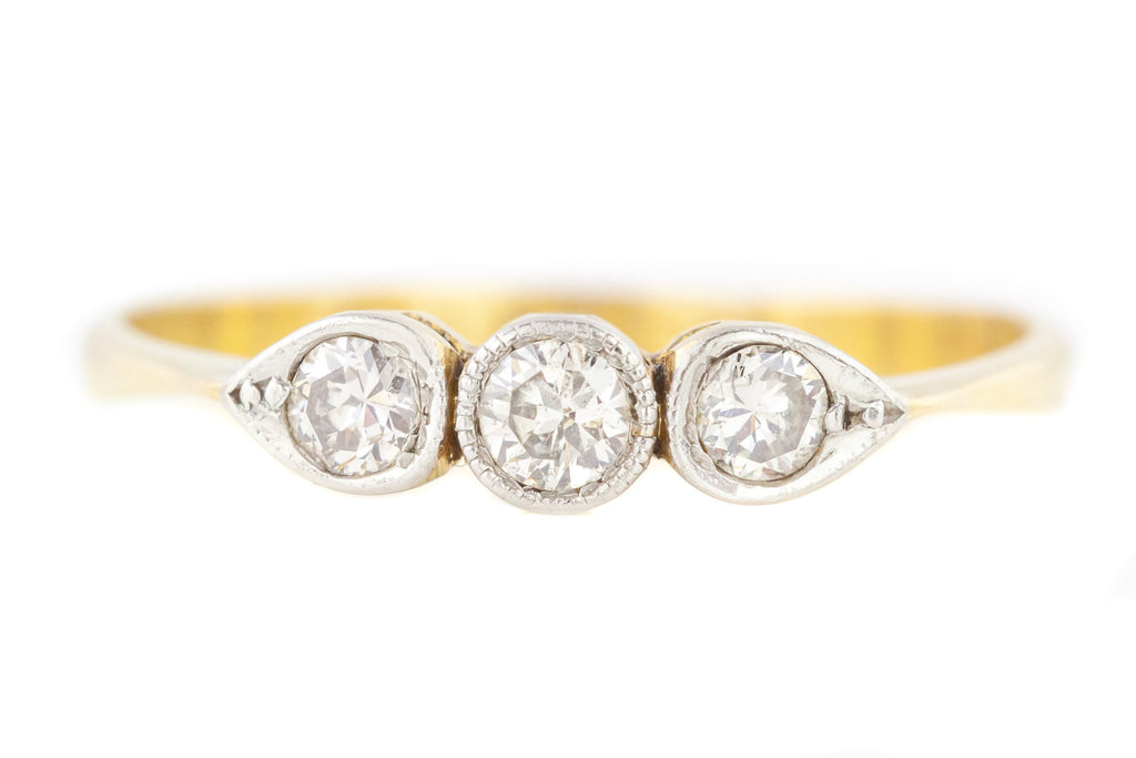 18ct Gold Art Deco Diamond Trilogy Ring (0.25ct)