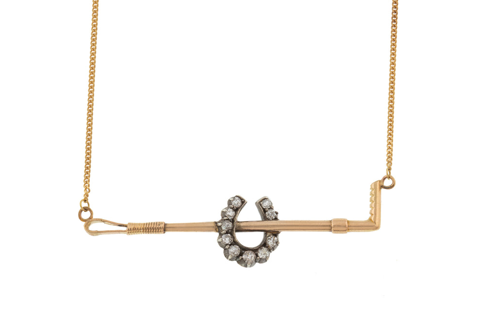 Victorian Diamond Horseshoe with Riding Crop Necklace