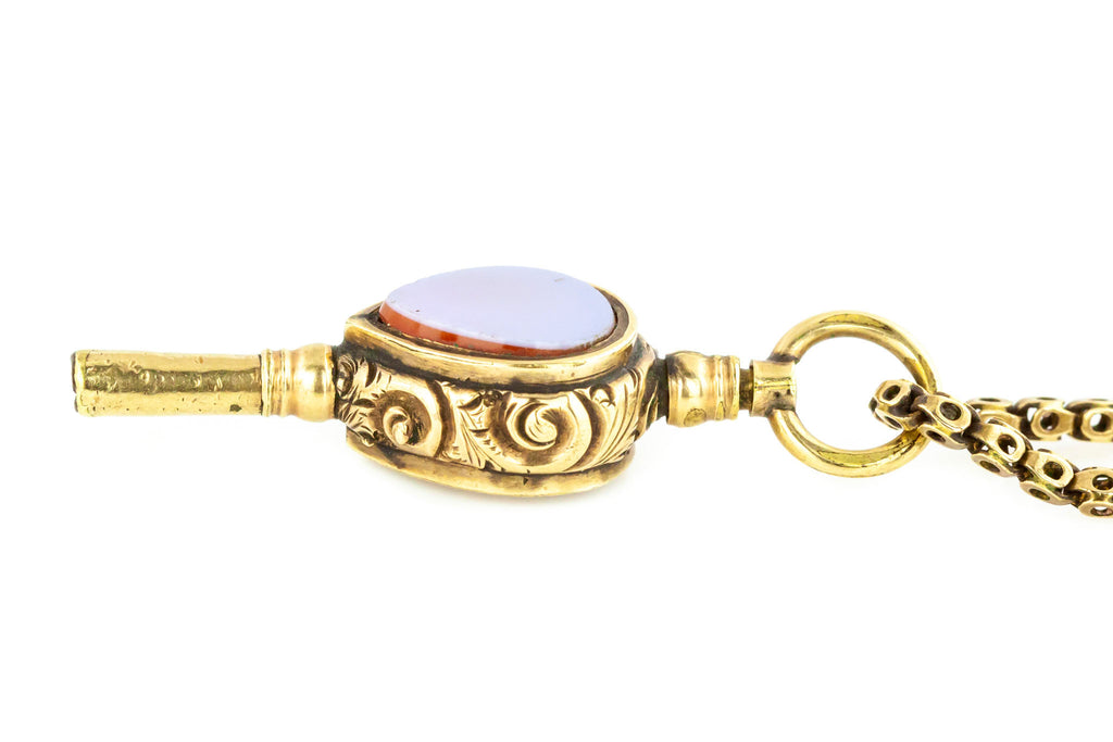 Antique Watch Key Charm Pendant with Antique Pierced Gold Chain