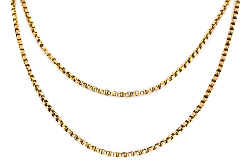 "Heavy Antique 9ct Gold Chain Necklace - 40"" Belcher Chain with Dog Clip"