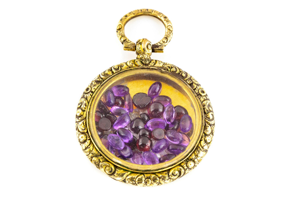 Georgian Antique Shaker Locket with Amethysts, Garnets and Diamonds