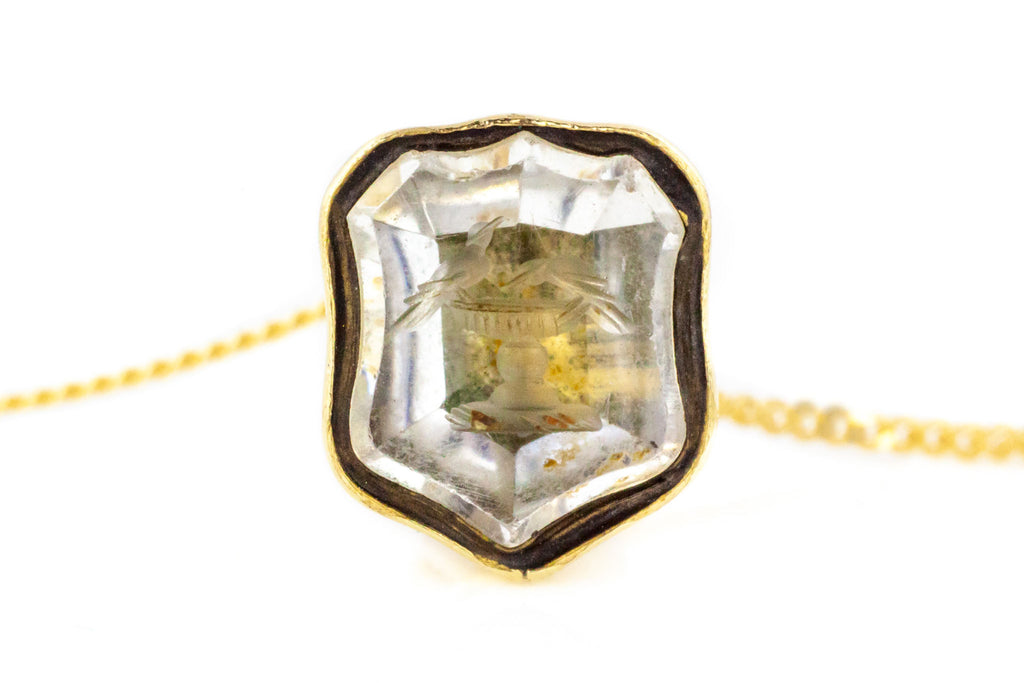 Victorian Fob Pendant with Bird Bath Intaglio