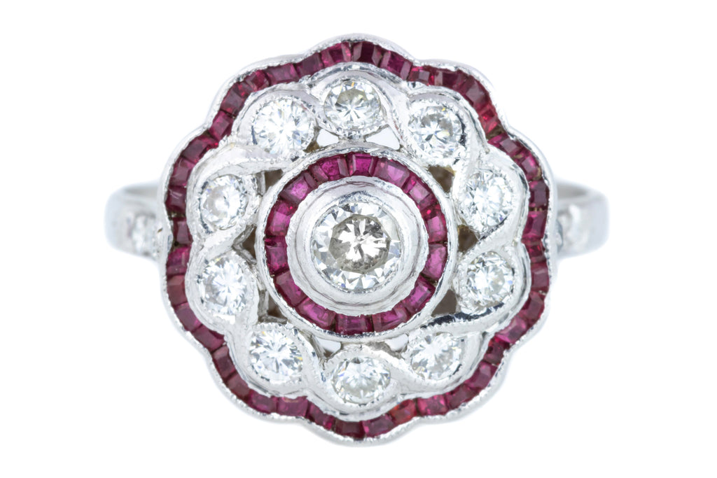 Art Deco Platinum Ruby & Diamond Cluster Ring (0.85ct)
