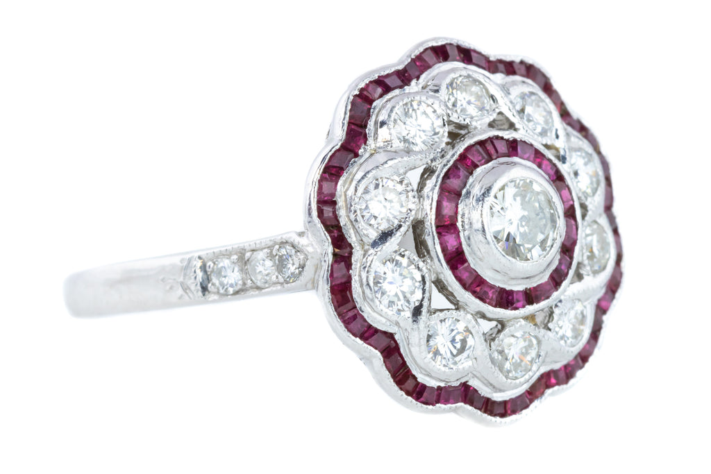 Art Deco Ruby & Diamond Cluster Ring in Platinum