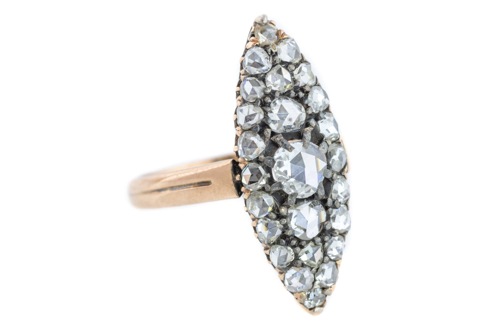 15ct Gold Antique Rose Cut Diamond Cluster Ring (1.26ct) - Victorian Navette Ring