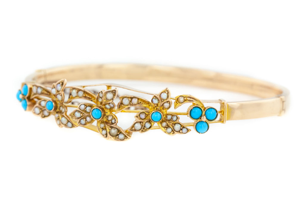 Edwardian 9ct Gold Bangle with Turquoise and Pearl Detail