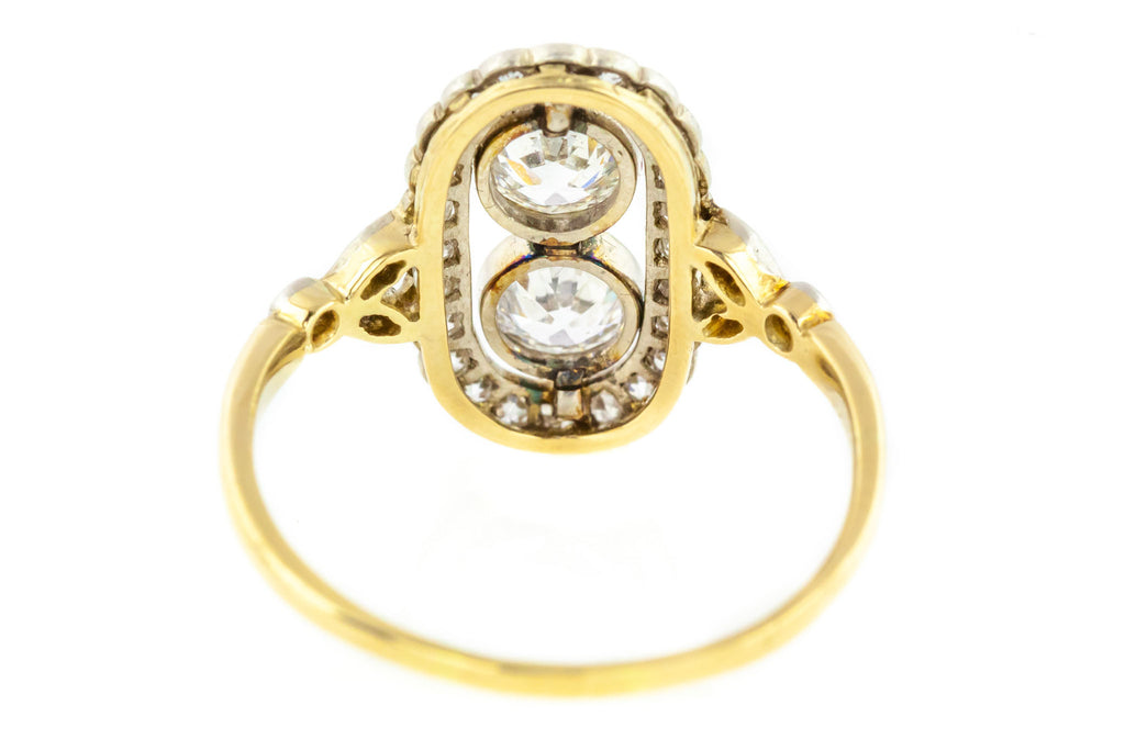 Edwardian 18ct Gold and Platinum Toi Et Moi Diamond Panel Ring 1.15ct