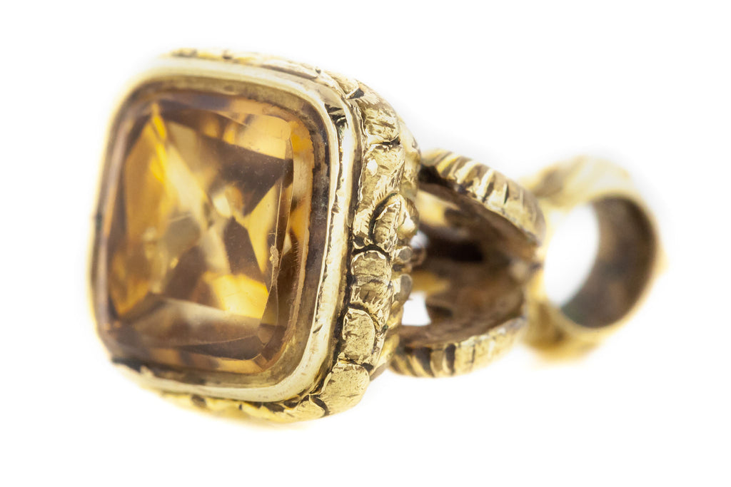 Georgian Fob Pendant with Pretty Foiled Citrine c.1830