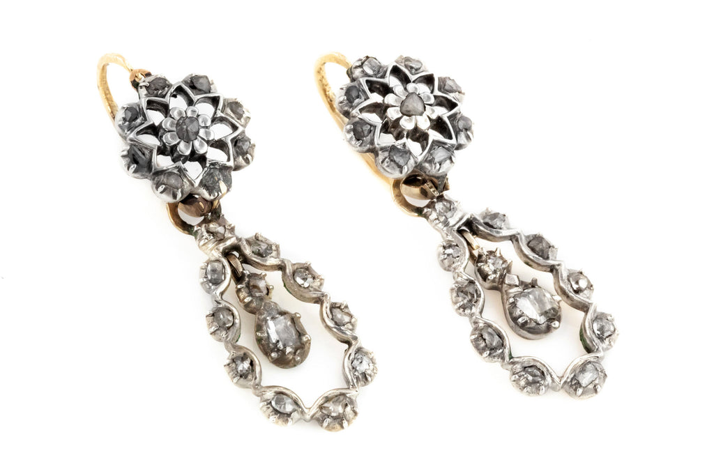 Georgian Diamond Pendeloque Earrings 1.15ct - Georgian Day and Night  Earrings (18ct Gold & Silver)