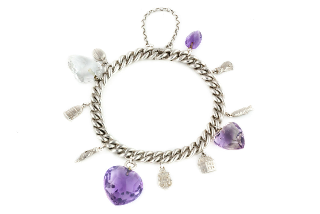 Antique Silver Charm Bracelet with Amethyst and Rock Crystal Hearts