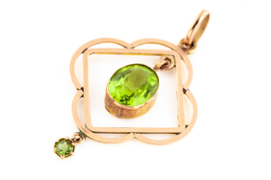 Edwardian 9ct Gold Peridot Drop Pendant