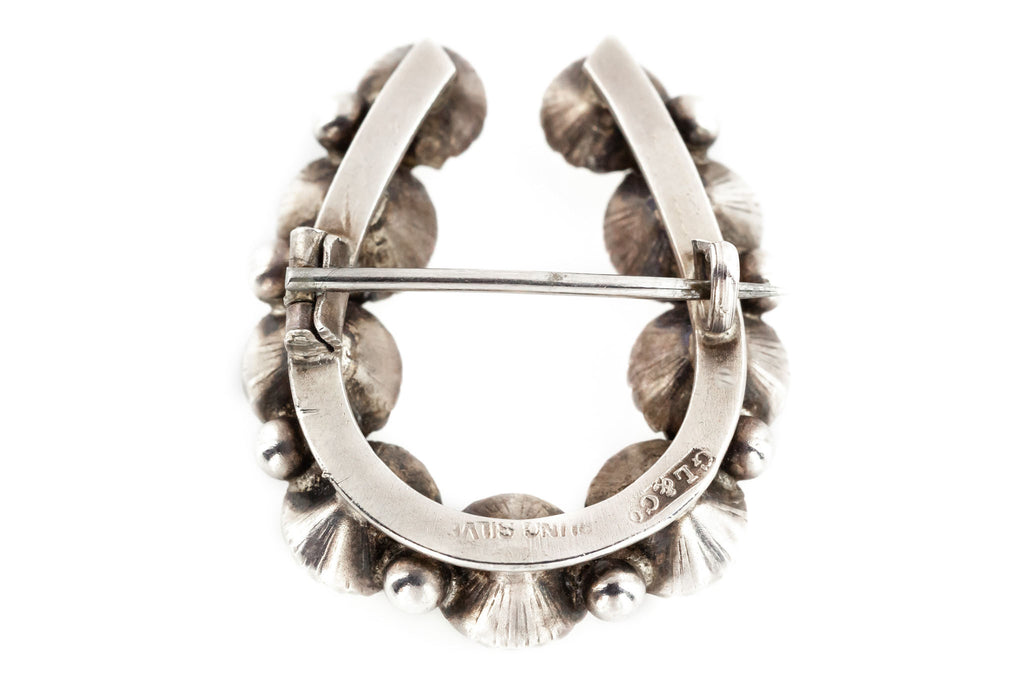 Victorian Silver Paste Horseshoe Brooch c.1900