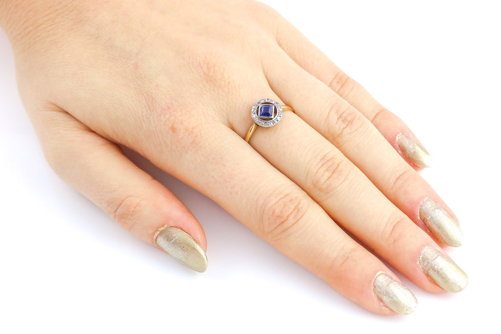Edwardian 0.50ct Sapphire and Diamond Halo Ring in 18ct Gold and Platinum