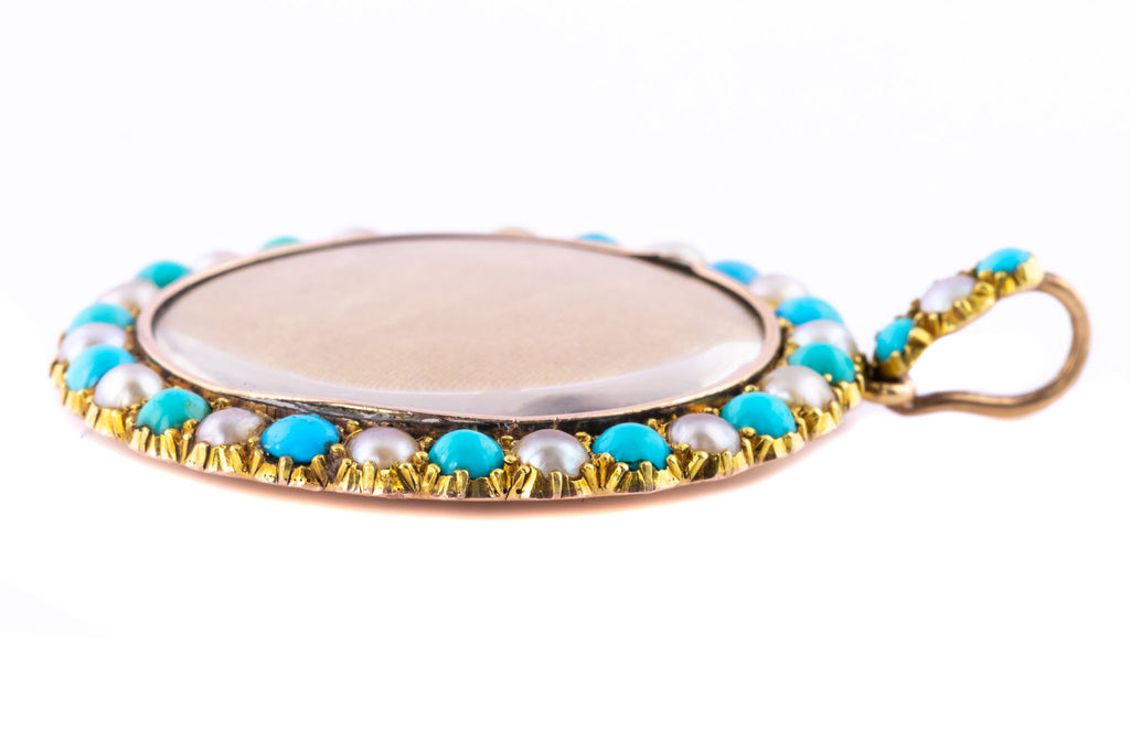 Edwardian Pearl and Turquoise Locketc.1903