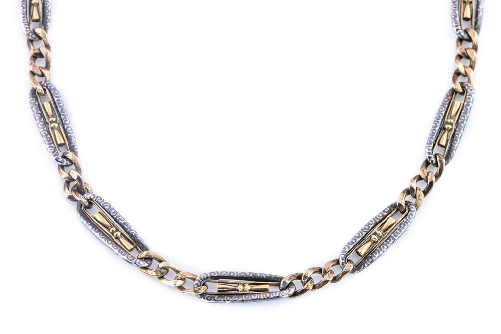 Victorian Silver and Gold Niello Chain c.1890