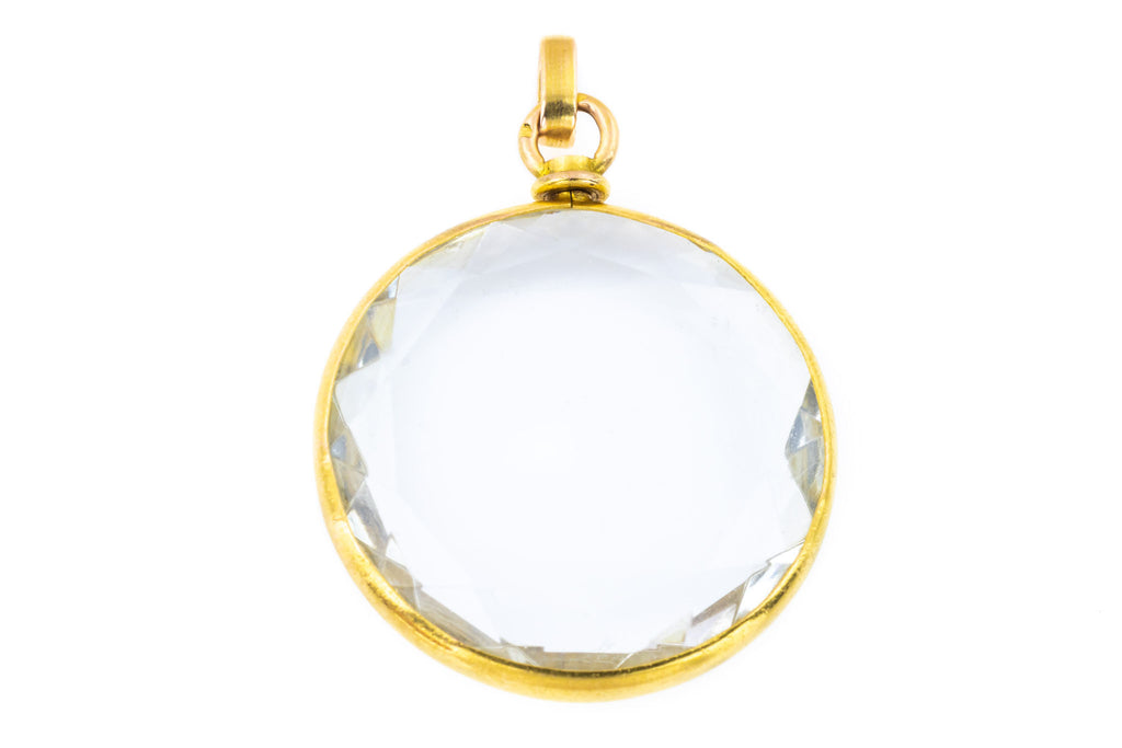 RESERVED! - Antique 18ct Gold Faceted Glass Locket Pendant