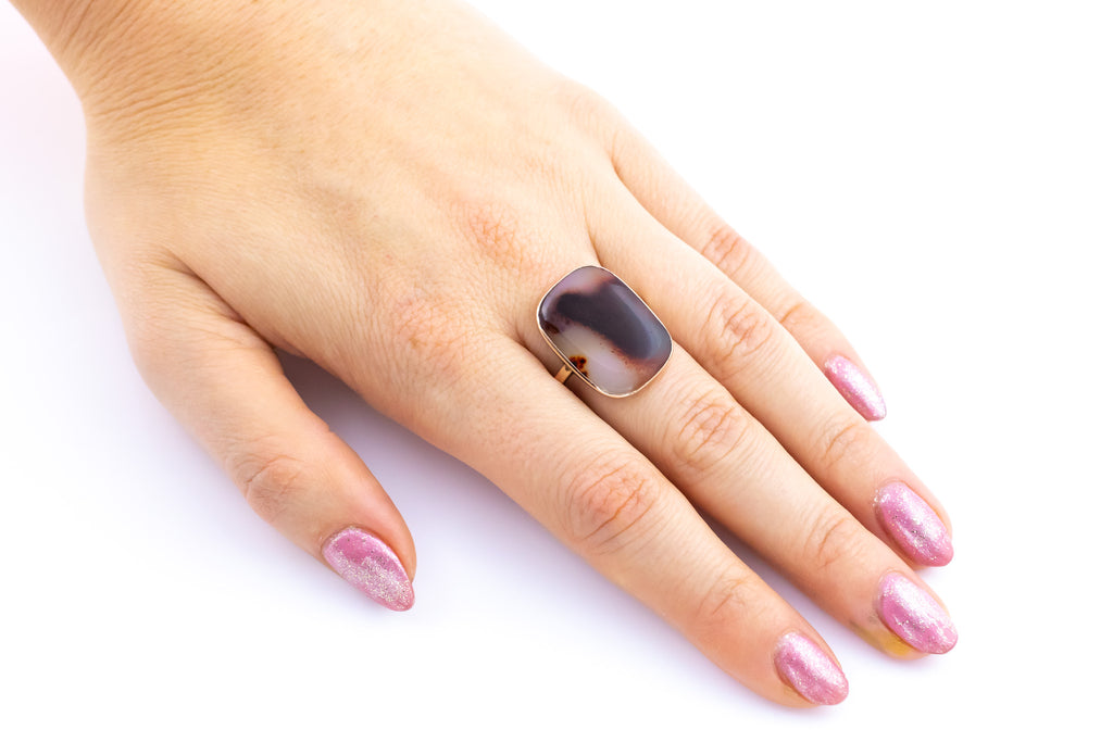 Antique Agate 9ct Rose Gold Statement Ring