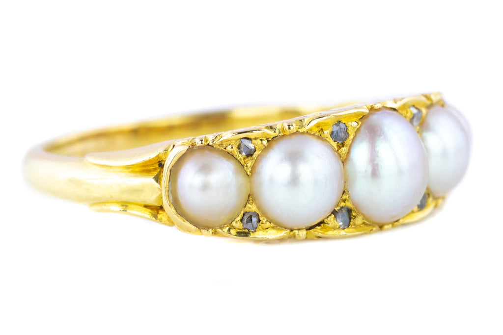Victorian Five Stone Pearl and Diamond Ring