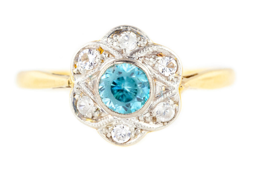 Antique Zircon and Diamond Cluster Ring in 18ct Gold and Platinum