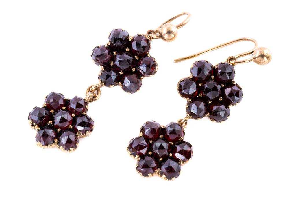 Victorian Garnet Cluster Drop Earrings