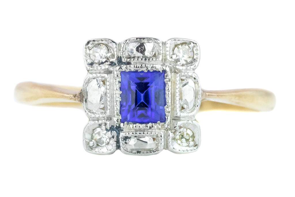 Square Art Deco Sapphire Diamond Cluster Ring in 18ct Gold & Platinum