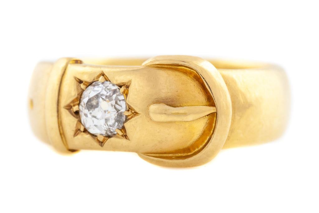 Victorian 18ct Gold Buckle Ring with 0.44ct Diamond c.1888