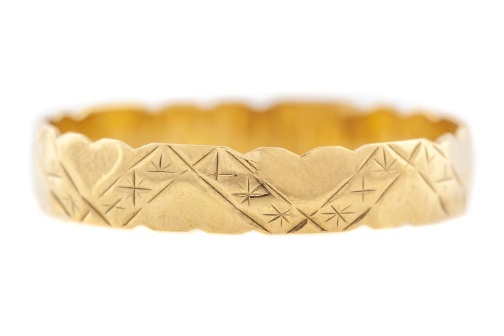 Vintage 9ct Gold Band with Hearts