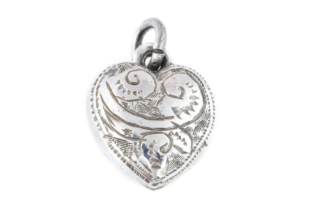 Antique Victorian Silver Heart Pendant c.1897