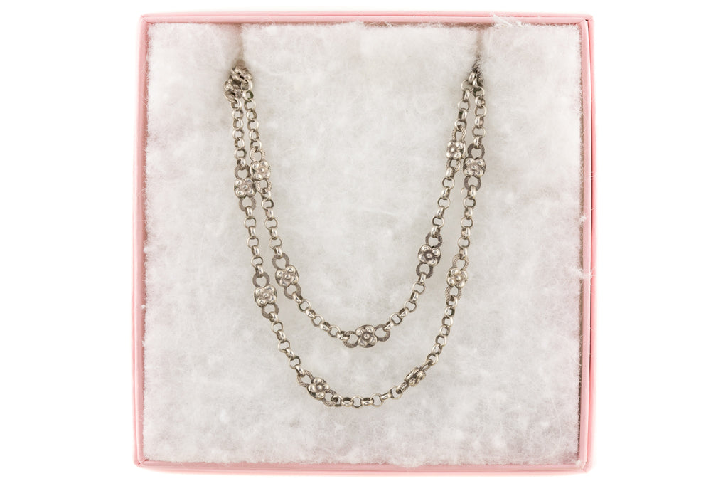 "56"" French Antique Silver Chain Necklace with Flower Links"