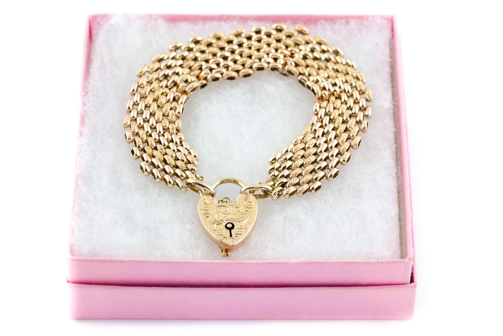 Antique 9ct Rose Gold Gate Bracelet with Heart Padlock c.1900