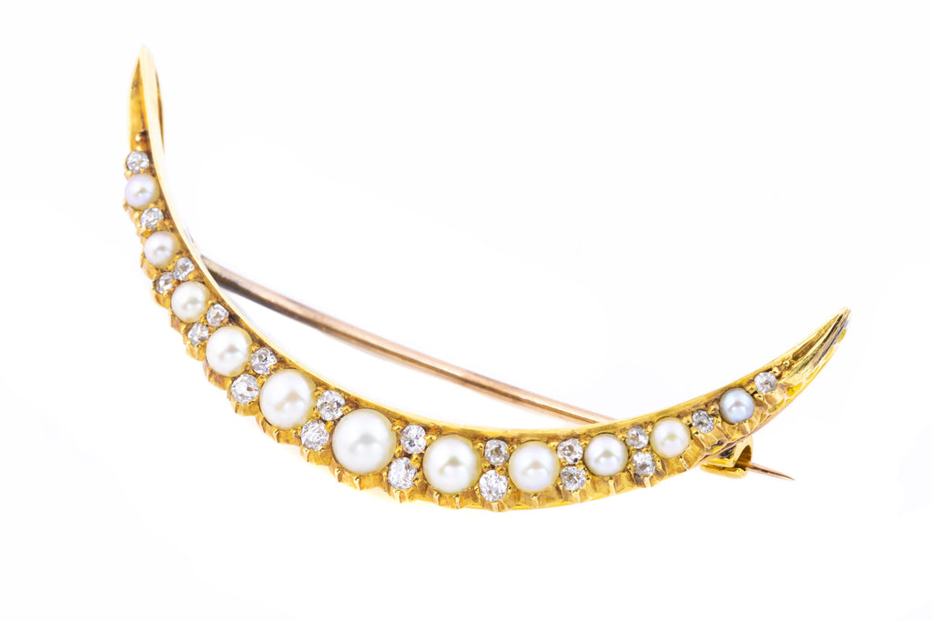 Edwardian Crescent Moon Brooch with Pearls and Diamonds
