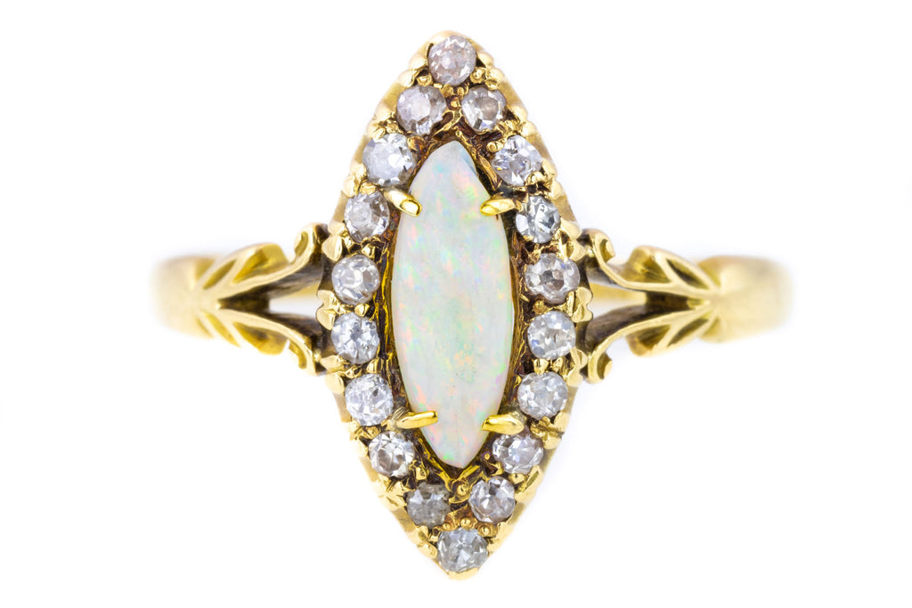 Victorian 0.50ct Opal and Diamond Marquise Ring with Split Shoulders