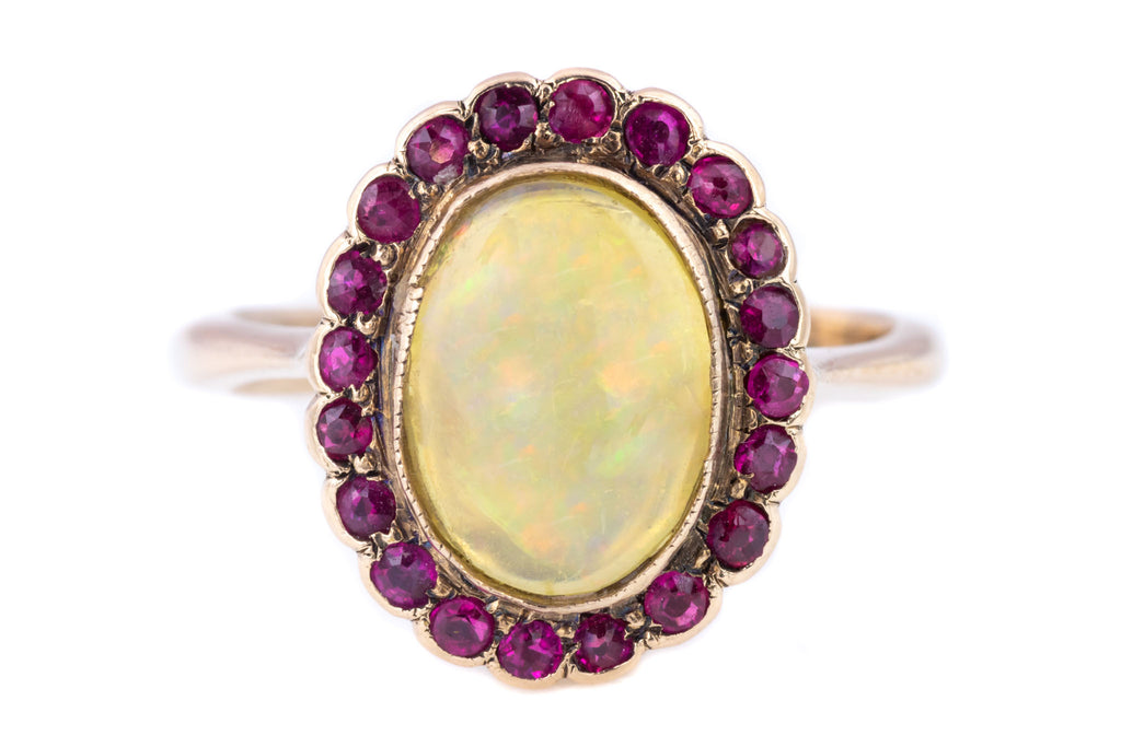9ct Gold Antique Opal and Ruby Cluster Ring