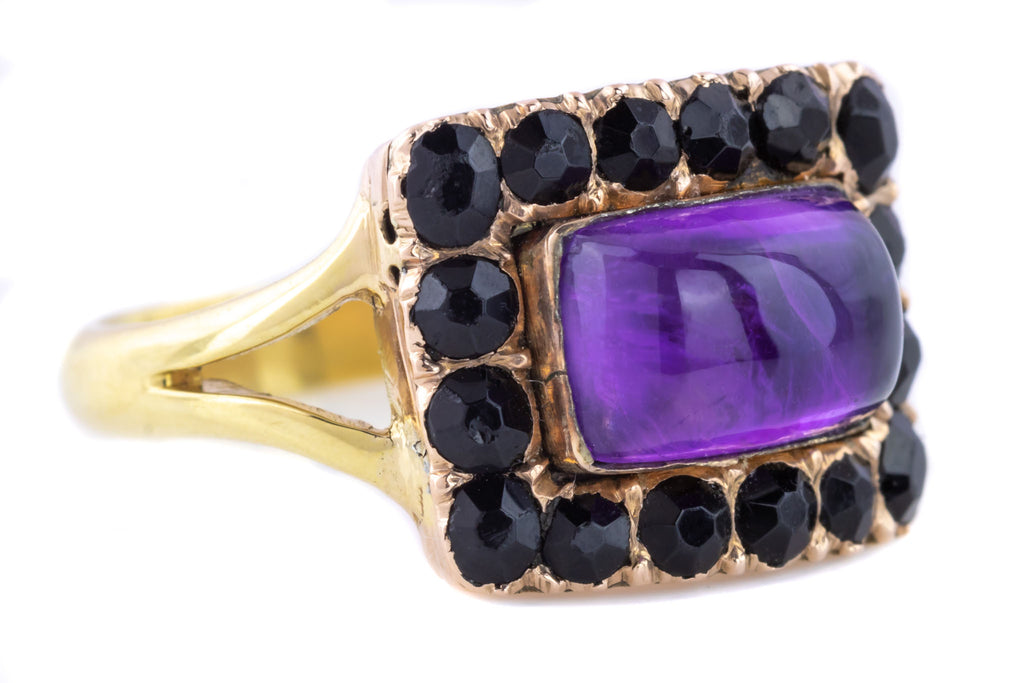Georgian Amethyst and Jet Mourning Ring c.1809