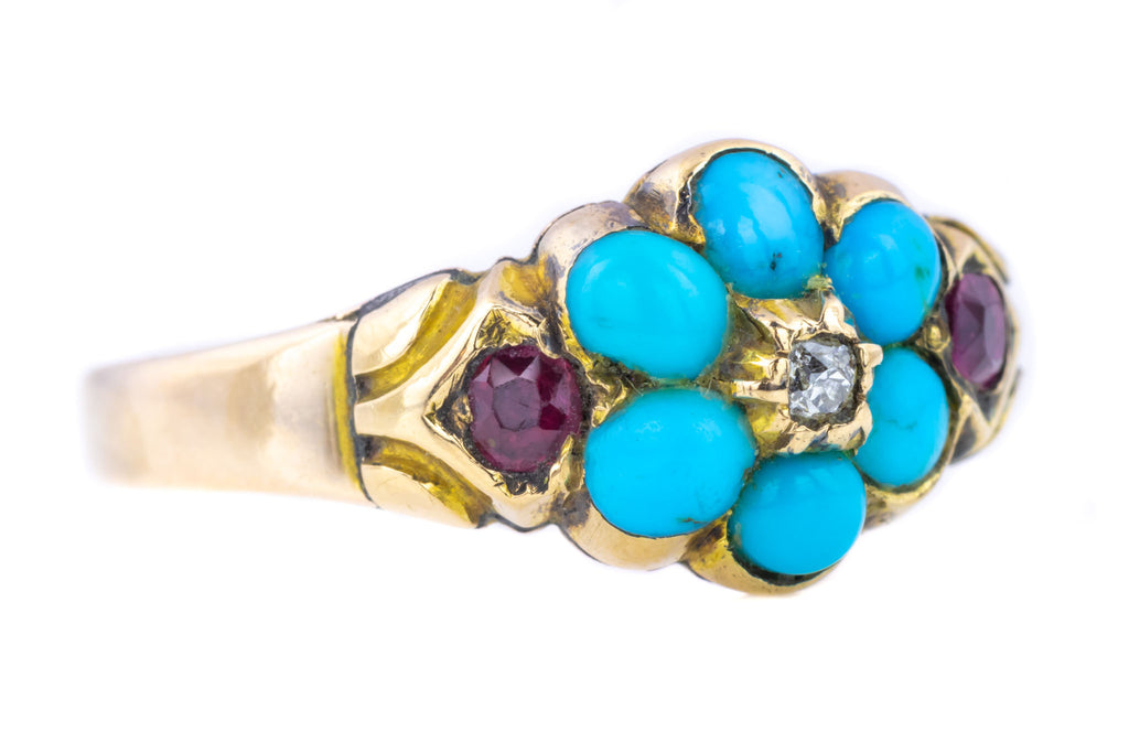Victorian Rose Gold Cluster Ring with Diamond, Turquoise and Rubies