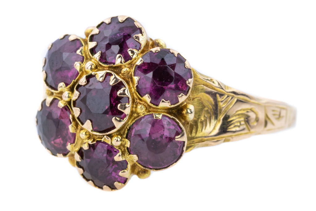 Georgian 9ct Gold Garnet Cluster Ring c.1817