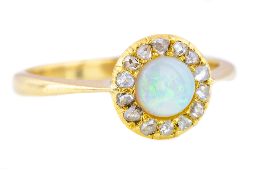 Edwardian Opal and Diamond Halo Cluster Ring
