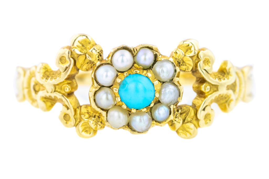 Victorian Turquoise and Pearl Cluster Ring c.1850