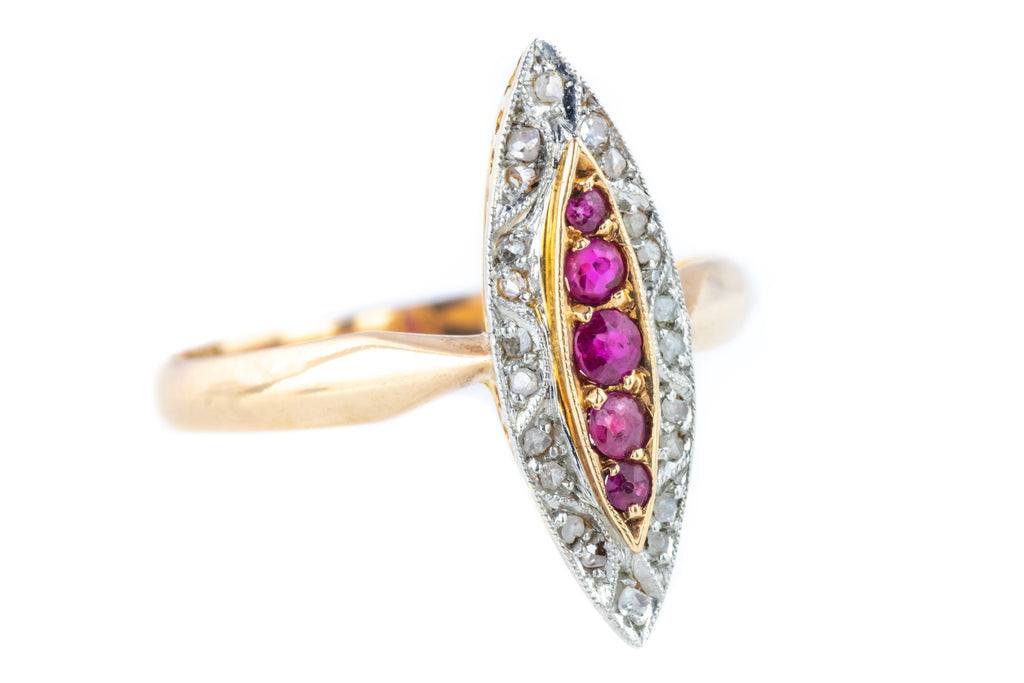 Art Deco Ruby and Diamond Cluster Ring