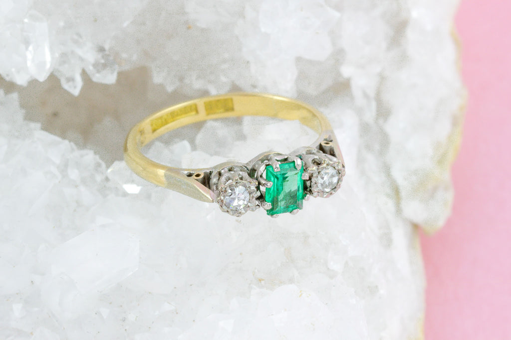 Art Deco Emerald and Diamond Trilogy Ring