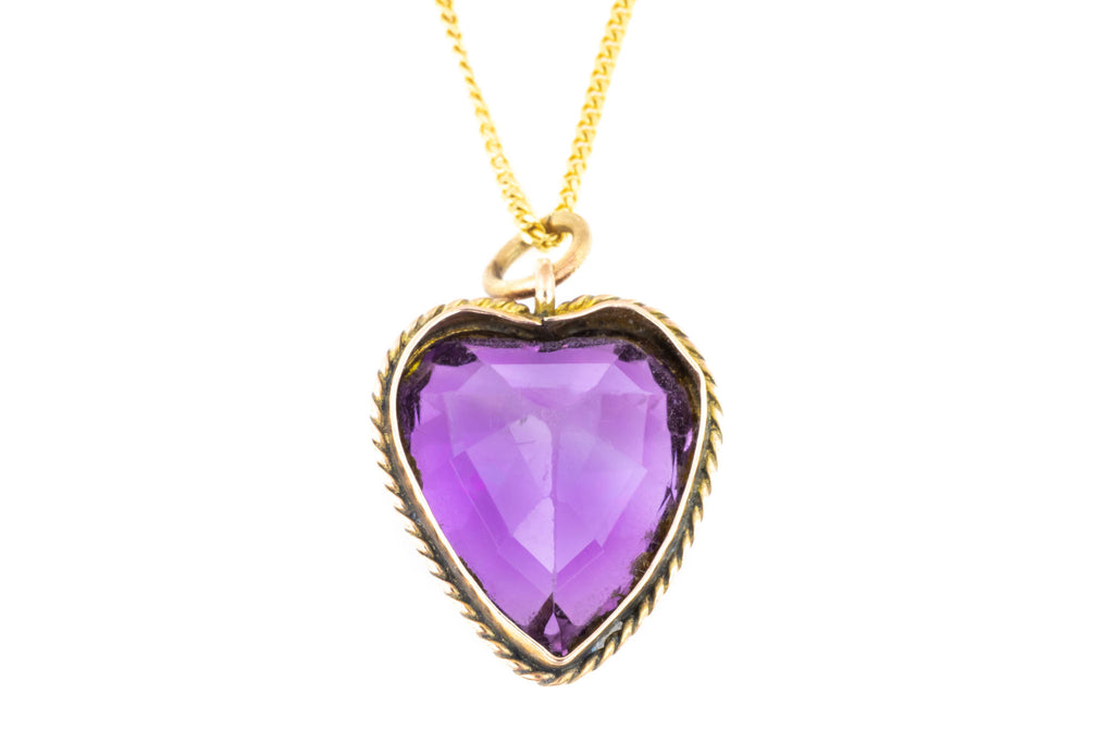 Victorian Amethyst Heart Pendant, with 9ct Gold Chain