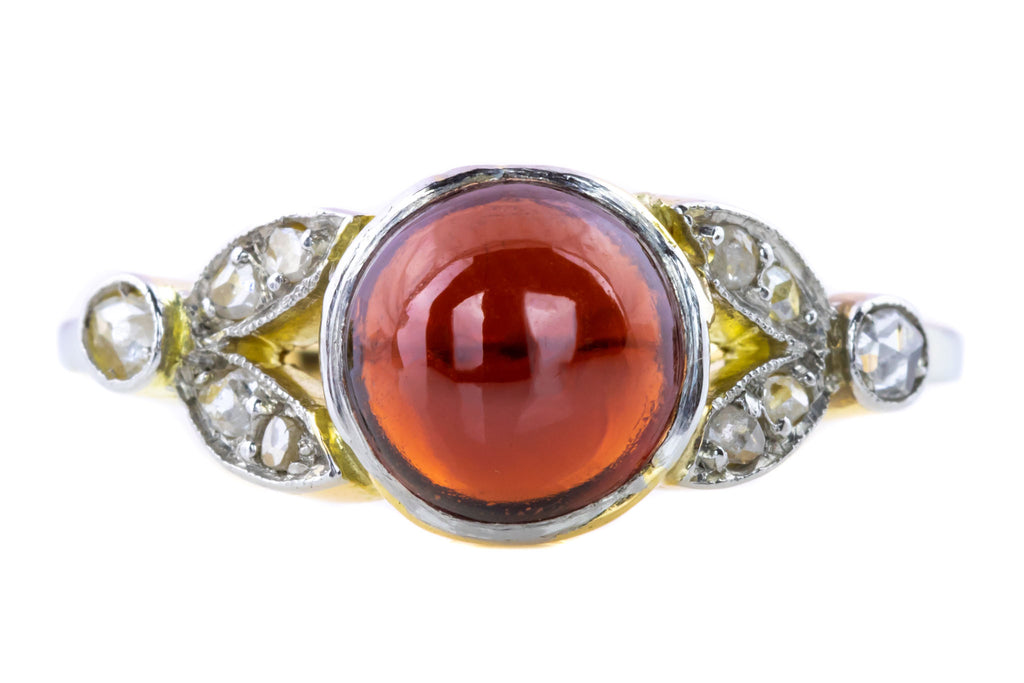 Rare 18ct Gold Antique Garnet and Diamond Ring c.1910