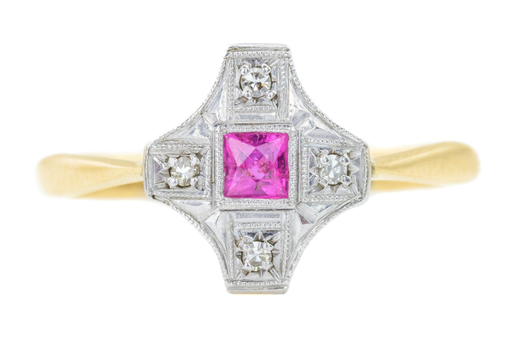 Art Deco Ruby and Diamond Panel Cluster Ring