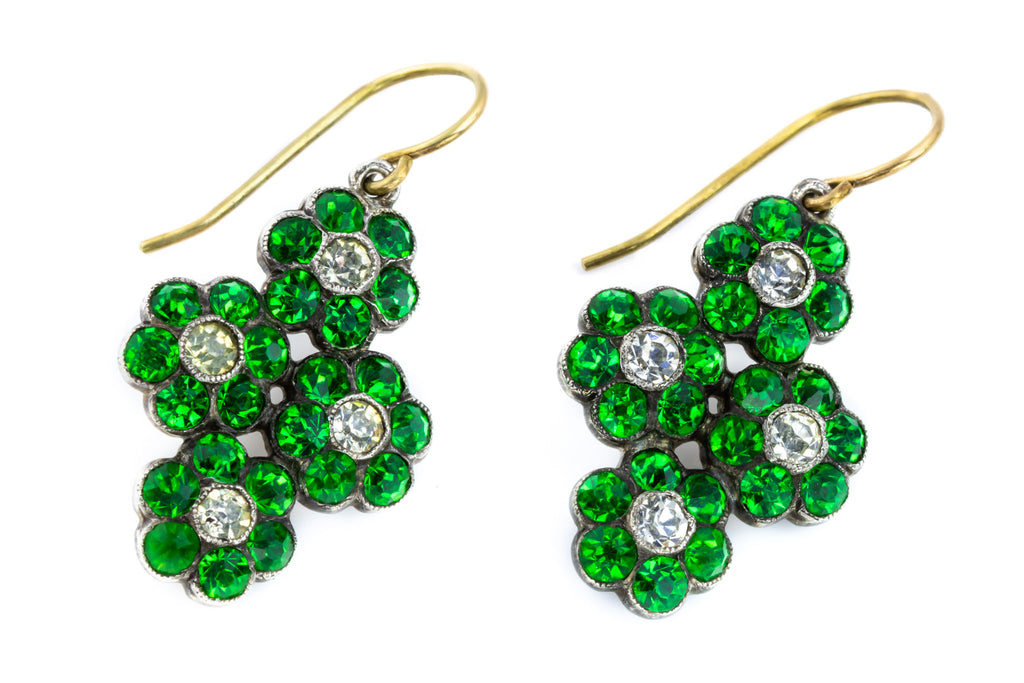RESERVED! - Antique Green and White Paste Drop Earrings in Silver and 18ct Gold