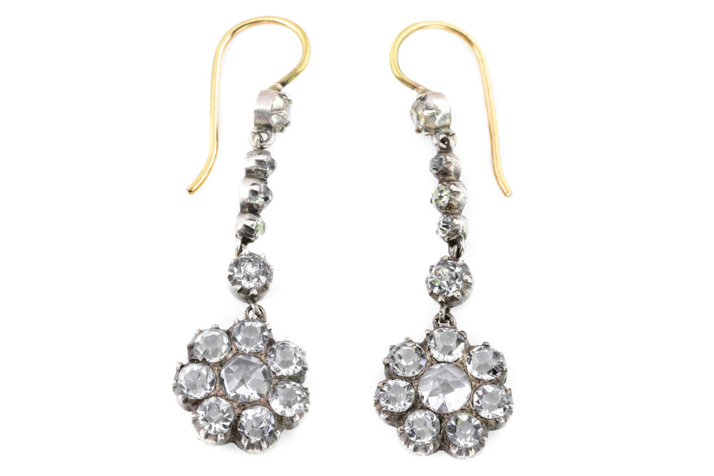 Fine Victorian Paste Cluster Earrings with 9ct Gold Hooks