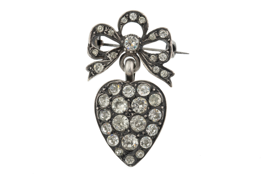Antique Silver Paste Heart Pendant with Bow