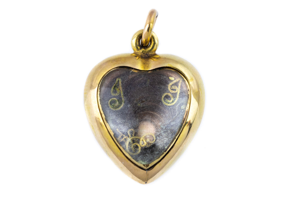 Victorian 18ct Gold Heart Mourning Pendant