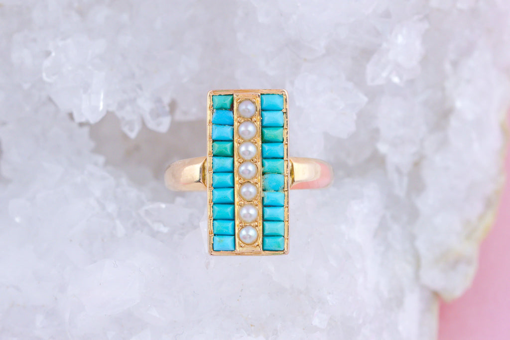 Victorian 18ct Gold Large Turquoise and Pearl Ring