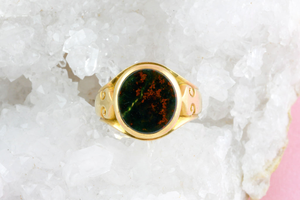 Victorian Solid 18ct Gold Signet Ring with Bloodstone